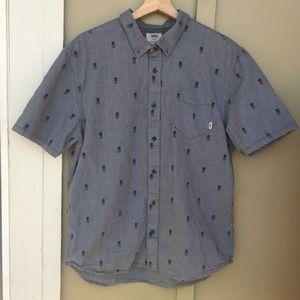 Vans Men's Pineapple Skull Short Sleeve Button Up